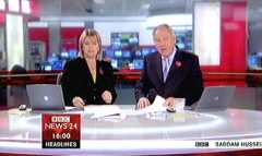 Saddam Hussein Sentenced 2006 - BBC News Channel Maxine Mawhinney and Peter Sissions (1)